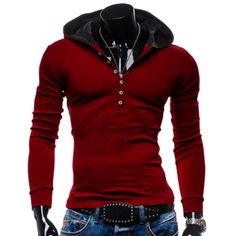 $13.46 Stylish Hooded Simple Solid Color Buttons Design Slimming Long Sleeve Polyester Hoodie For Men