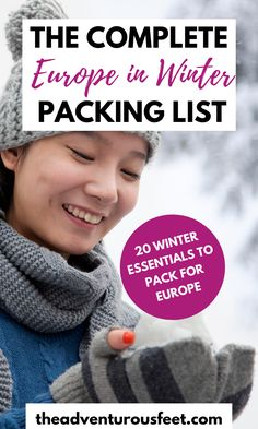 Traveling to Europe in winter? Here is the complete Europe in winter packing list with everything you shouldn't leave behind.| Packing list for Europe in winter| packing list for winter in Europe| europe in winter packing | what to pack for europe in winter| what to pack for winter in europe cold weather| winter packing list in Europe| what to wear in winter in europe|what to wear to europe in the winter| packing for winter in europe what to wear #theadventurousfeet Weekend Packing List, Packing For Europe, Europe Europe, Road Trip Packing, Road Trip Europe, Packing Tips For Vacation, Winter Packing, Europe Travel Guide, Packing Lists