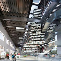 Interior de la Nueva Biblioteca de Bellas Artes en Cornell. Imagen vía Wolfgang Tschapeller ZT.
