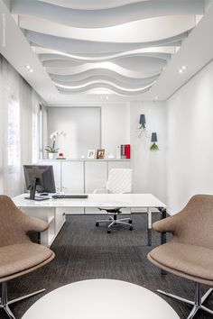 A detailed ceiling design incorporates lighting in this office | https://www.linkedin.com/company/city-lighting-products