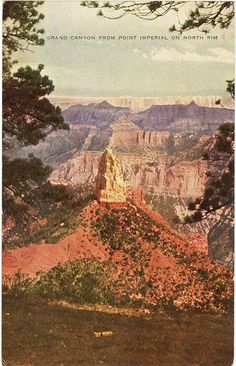 Vintage Arizona postcard of Grand Canyon National Park from Point Imperial on North Rim