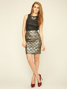 """Therese"" Metallic Brocade Skirt (Trina Turk via Gilt)"