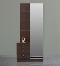 Buy Triumph Dresser With Mirror in Dark Walnut Colour by Online - Dressing Units - Tables - Furniture - Pepperfry Product Dressing Table Storage, Furniture Dressing Table, Bedroom Dressing Table, Dressing Table Mirror, Wardrobe Door Designs, Wardrobe Design Bedroom, Bedroom Furniture Design, Modern Dressing Table Designs, Dressing Room Design
