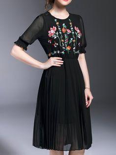 Shop Midi Dresses - Floral Elegant Polyester Crew Neck Half Sleeve Midi Dress online. Discover unique designers fashion at StyleWe.com.