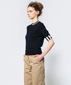 3.1 Phillip Lim WOMEN / shortsleeve pullover with contrast rayon striped trims(ニット/セーター) - ZOZOTOWN