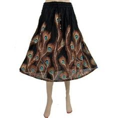 """India Designer Long Skirt Peacock Feather Print Black Sequin Skirt Womens Fashion Skirts 28"""" (Apparel)  http://www.lookees.com/product.php?p=B0073QPO82"""
