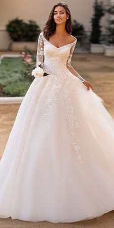moonlight collection fall 2019 bridal illusion long sleeves off shoulder neckline fully embellished lace a line ball gown wedding dress elegant princess romantic chapel train mv -- Moonlight Collection Fall 2019 Wedding Dresses Country Wedding Dresses, Princess Wedding Dresses, Modest Wedding Dresses, Boho Wedding Dress, Bridal Dresses, Lace Wedding Dress Ballgown, Winter Wedding Dresses, Flattering Wedding Dress, Wedding Dress Train