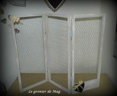 Paravent/présentoir à boucles d'oreilles ou simple paravent déco pour accrocher pinces à linge et photos : Presentoir, boîtes par le-grenier-de-mag
