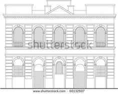vector  line drawing illustration of a heritage mansion building viewed from front elevation on white background - stock vector #mansion #linedrawing #illustration