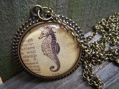 Sea Horse Handmade Vintage Dictionary Print  Necklace by ChloesWindow, $22.00