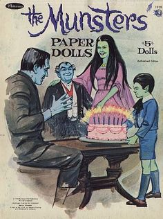 Artist in LA LA Land Illustration: Weekly Vintage Inspiration: Vintage Munsters Paper Doll Set for Halloween