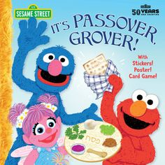 """A Sesame Street Passover story with stickers, a poster, and a card game!    It's Passover on Sesame Street, and Grover invites a few friends to a Seder athis house. More and more guests show up, and room is made at the table tohonor the traditional Passover invitation: """"Let all who are hungry come andeat."""" Girls and boys ages 2 to 5 will particularly enjoy the story's focus onthe exciting hunt for the Passover afikomen, a piece of matzah that's hiddenfor the children to find. A brief…"""