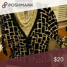 Ann Taylor Cardigan Sweater Black and white ....  great condition Ann Taylor Sweaters Cardigans