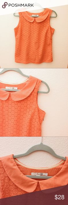 Boden Peter Pan Top Beautifully designed deep coral color, eyelet Peter Pan collar top, side zip with liner create the perfect summer top. Boden Tops