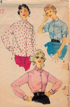 1950's in the house!!  1950's Blouse Button Down Womens Vintage Sewing by Sutlerssundries