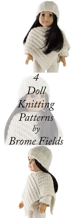 Cozy Outfit : Doll Hat, Sweater, Poncho and Pants Knitting Patterns - Brome Fields Cozy winter American Doll FREE Knitting Patterns {Sweater, Hat, Poncho and pants} Knitting Dolls Clothes, Crochet Doll Clothes, Girl Doll Clothes, Doll Clothes Patterns, Knitted Doll Patterns, Kids Knitting Patterns, Knitted Dolls, Free Knitting, Crochet Patterns