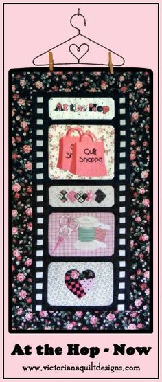At the Hop - Now Quilt Pattern http://www.victorianaquiltdesigns.com/VictorianaQuilters/PatternPage/AttheHop/AttheHopNow.htm #quilting #quiltshop