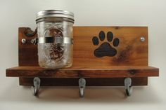 CUSTOM ORDERdog leash treat holder mason by EnchantingGardenArt created in Scrapwood Studio, Etsy