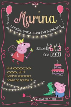 Convite Digital, você receberá um arquivo digital, pronto para imprimir onde preferir e também um outro arquivo para enviar por e-mail para seus convidados.  Para maiores informações, pedimos que leia a política de nossa loja.    Esse produto é uma sugestão de tema, fazemos o convite com o tema e... Invitacion Peppa Pig, Cumple Peppa Pig, 2nd Birthday Parties, Happy Birthday, Torta Baby Shower, George Pig, Pig Party, Party Themes, Diy And Crafts