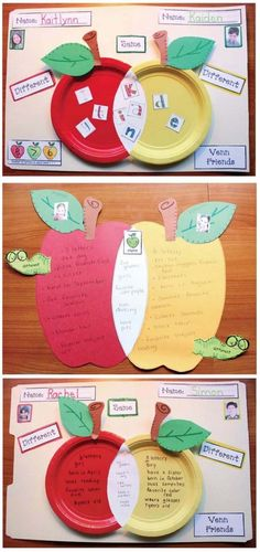"""FREE Venn diagram apple craft. """"Venn Friends"""" A super-fun way for students to get to know their new classmates, while reviewing the alphabet, comparison & contrast writing, and some math skills!"""