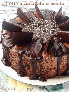 Tort cu ciocolata si menta ~ Culorile din farfurie Cake Cafe, Jacque Pepin, Eat Dessert First, Something Sweet, Dessert Recipes, Desserts, Cravings, Cheesecake, Food And Drink