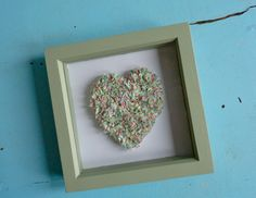 Green Country Kitchen Framed Rag heart, unique Kirby Jane design, £14.00, via Etsy