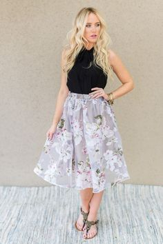 Floral Tulle Midi Sk