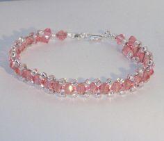 Joyas de cristal de Swarovski pulsera rosa de por kippyskreations