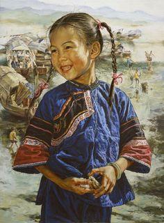 ARTISTA WAI MING - Asia oriental china ilustraciones Fine Art Paintings Catálogo (título: Feliz Fishgirl)