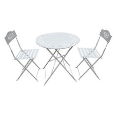 Outdoor Alpine Metal Folding Bistro Set with Two Chairs - White - MSY100A-WT
