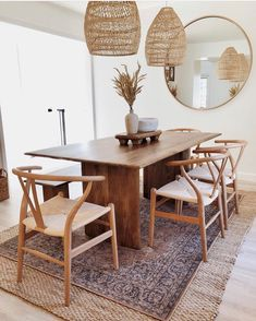We are obsessed with 's gorgeous dining room 👏 Our Anton solid wood dining table looks amazing on top of these layered rugs. Dining Room Table Decor, Solid Wood Dining Table, Dining Room Design, Dining Room Rugs, Vintage Dining Tables, Modern Rustic Dining Table, West Elm Dining Table, Dining Chairs, Bed Table
