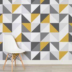 Ideas bathroom wallpaper geometric wall tiles for 2019 Bathroom Wallpaper Geometric, Geometric Wall Art, Wall Wallpaper, Geometric Designs, Pattern Wall, Wall Patterns, Diy Wand, Interior Design Living Room Warm, Diy Wall Painting