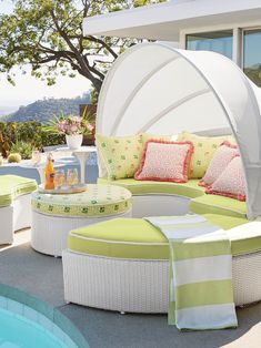 With 231 cu. ft. of space, our versatile, all-weather Baleares Daybed serves as a private lounger or seating for six. The handsome white wicker imparts a breezy, tropical feel and new designer cushions enliven the look with pattern and dimension. For privacy, simply push the four pieces together and extend the canopy. For socializing, let the canopy down and pull the pieces apart with ease.