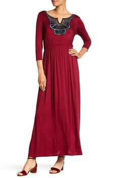 Image of WEST KEI Solid Knit Applique Maxi Dress