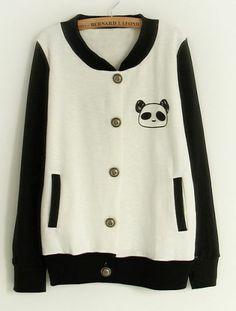 White Contrast Black Sleeve Panda Pocket Jacket pictures