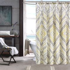 The INK+IVY Cornwall Collection creates a casual look and feel to your bathroom. The soft blue and taupey greys play up this diamond design to update your space instantly.