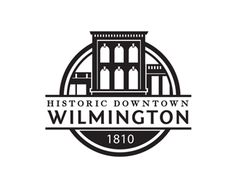 Historic Downtown Wilmington logo. Clean & balanced. Simple classic sample of a seal type logo with serif & sans serif fonts. Not sure if this is for Wilmington, DE or NC…