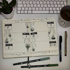 "438 mentions J'aime, 21 commentaires - Bullet Journal • (@bujo.maripol) sur Instagram : ""My entry for @archerandolive #AOdotgridchallenge 🍃 Since I already did my monthly log for november…"""