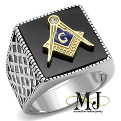 bbade01529e54 Freemason Ring, Titanium Jewelry, Black Agate, Black Silver, Black Onyx,  Steel