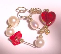 """PASSION Design """"Heart"""" pendant with real pearl AAA+ and genuine red coral"""