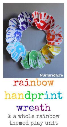 Beautiful rainbow handprint wreath craft, plus a whole unit of rainbow-themed activities