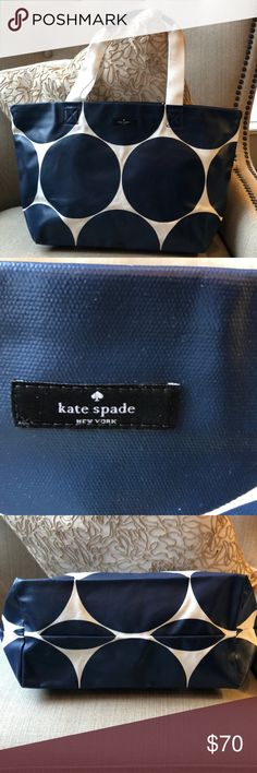 """♠️Kate Spade Canvas Bag ♠️ Brand New without Tags, Kate Spade Canvas Bag , Navy Blue and White Polka Dots, Pristine Condition 18 1/2"""" wide 10 1/2"""" height kate spade Bags Totes"""