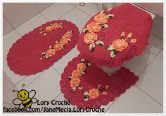 Conjunto de tapetes para banheiro, produzindo em crochê
