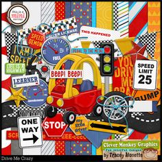 Drive Me Crazy by Clever Monkey Graphics - Digital scrapbooking kits available through Oscraps, GingerScraps, or MyMemories