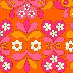 paisley heart orange custom fabric by aliceapple for sale on Spoonflower 60s Patterns, Cool Patterns, Vintage Patterns, Print Patterns, Fabric Patterns, Vintage Pattern Design, Pattern Designs, Vintage Fabrics, 60s Wallpaper