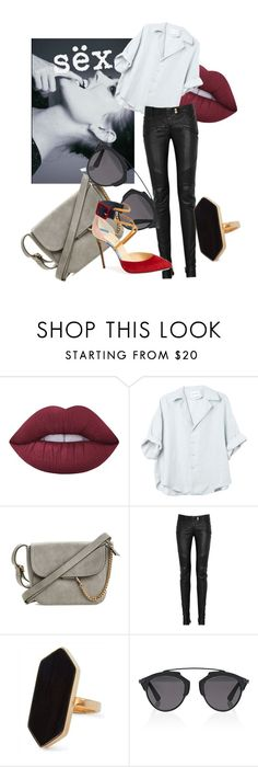 """""""lend me your legs..."""" by lionb-tchwardrobe ❤ liked on Polyvore featuring Lime Crime, Balmain, Jaeger, Christian Dior, Christian Louboutin, Leather and balmain"""