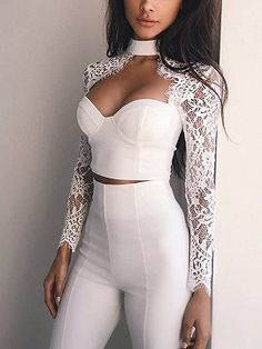White Bandage 2016 New Arrivals Rayon Vestido Bandagem Lace Sleeve Top Bodycon Pants Jumpsuit Wholesale HL Classy Outfits, Cute Outfits, Party Outfits, Look Fashion, Fashion Outfits, Swag Fashion, Party Fashion, Fashion Trends, Lace Pants