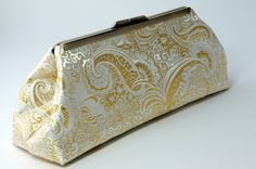 Beautiful White & Gold Patterned Silk Brocade Clutch With Blue Silk Lining - Perfect Evening or Formal Purse, Handbag. $60.00, via Etsy.