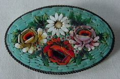 Antique Oval Micro Mosaic Pin