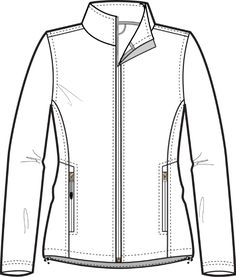 DOUBLE METAL ZIPPER Flat Sketch for Wind Breaker Jacket